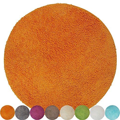 proheim Badematte in vielen Formen rutschfester Badvorleger Premium Badteppich 1200 g/m² weich & kuschelig Hochflor, Farbe:Orange, Produkt:Ø 60 cm Rund