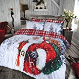 Weihnachts-Bettbezug von Pieridae, Premium-Polyester-Baumwolle, mit Weihnachtsmotiv, mit karierter Rückseite, VIntage, 50 % Baumwolle / 50 % Polyester, rot, Einzelbett