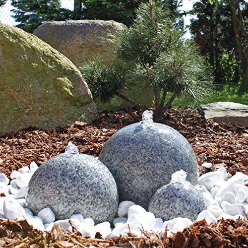 CLGarden Granit Springbrunnen SB1 - 3 teiliger Kugel Brunen Granitbrunnen Komplett-Set Garten Wasserspiel