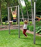 TOLYMP Doppel-Turnreck Zugschwitze zwei Klimmzugstangen/Turnstangen/Turnrecks für Outdoor-Fitness, hochwertig aus Edelstahl, für den Garten und die ganze Familie
