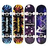 Unibest Skateboard Funboard Holzboard komplett 80x20cm mit Leuchtrollen - blau Flamme