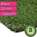 Kunstrasen Rasenteppich Blaze für Garten - Florhöhe 20 mm - Gewicht ca. 1898 g/m² - UV-Garantie 8 Jahre (DIN 53387) - 2,00 m x 4,00 m | Rollrasen | Kunststoffrasen