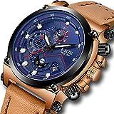 Uhren für Herren,LIGE Chronograph Wasserdicht Militär Sport Analog Quarzuhr Herren Braun Lederband Großes Gesicht Datum Mode Casual Luxus Armbanduhren Blau Grau
