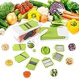 FIXKIT Gemüseschneider Mandoline,Gemüsehobel 10 in 1 Austauschbare Klinge mit Schäler Obst, Multischneider, Gemüsehobel, Gemüseschäler, Gemüsereibe und Julienneschneider