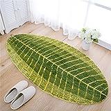 GWELL Grün Blatt Weiche Antirutsch Badematte Badvorleger Duschvorleger Fußmatte Teppichboden für Bad Küche Wohnzimmer Schlafzimmer 45x120 cm