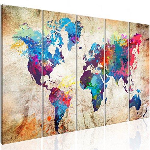 murando - Bilder 200x80 cm - Leinwandbilder - Fertig Aufgespannt - Vlies Leinwand – 5 Teilig - Wandbilder XXL - Kunstdrucke - Wandbild - Weltkarte Welt Karte Kontinent Landkarte k-A-0179-b-o