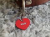 Gravuren.store 2 Stück Hunde-Katzenmarke Herz, Adressanhänger aus Aluminium, (24,5mm X 20mm S, Rot)