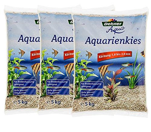Dehner Aqua Aquarienkies, Körnung 1 bis 2 mm, 3 x 5 kg (15 kg), beige