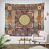 Goldbeing indischer Wandteppich Wandbehang Mandala Tuch Wandtuch Gobelin Tapestry Goa Indien Hippie-/ Boho Stil als Dekotuch /Tagesdecke indisch orientalisch psychedelic (203 x 153cm, Rechteck)