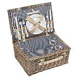 anndora Picknickkorb 4 Personen Weidenkorb beige + Zubehör 21 teilig