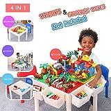 Bheddi Bausteine Spieltisch 3 In 1 Kinder Spieltisch Bausteine Spieltisch Sitzgruppe (Non-Slip/Wasserdicht/Höhe einstellbar), Spieltisch Kinder(Ziegel Nicht eingeschlossen)