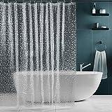 Klar Duschvorhang Anti-Schimmel, SPARIN Anti-Bakteriell, PEVA wasserdichter Badvorhang Transparent Kieselsteine mit 12 weiß Haken [Umweltfreundlich] [Waschbar] [180x200cm], Bad Vorhang für Badzimmer