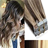 50cm Tape in Extensions Echthaar Remy Human Hair Haarverdichtung Haarverlängerung glatt 50g 20 stück X 4cm #4/27 mittel braun/dunkelblond