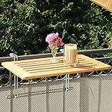 Balkonhängetisch Bambusholz 50 x 80cm, Balkonklapptisch aus Bambusholz, Balkontisch klappbar für Balkongitter & -Brüstung