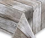 Wachstuch Tischdecke abwischbar rutschfest Meterware, glatt Holz beige, Größe wählbar (eckig 100 x 140 cm)