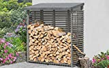 Kaminholzregal mit Rückwand für 1,8 m³ Holz grau von Gartenpirat