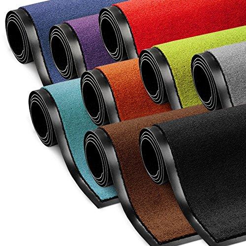 Schmutzfangmatte ColorLine | viele Größen und Farben zur Auswahl | Fußmatte für Innenbereich | Mono Color Silbergrau 60x90 cm