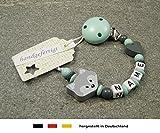 Baby SCHNULLERKETTE mit NAMEN   Schnullerhalter mit Wunschnamen - Mädchen & Jungen Motiv Fuchs und Herz in mint, grau