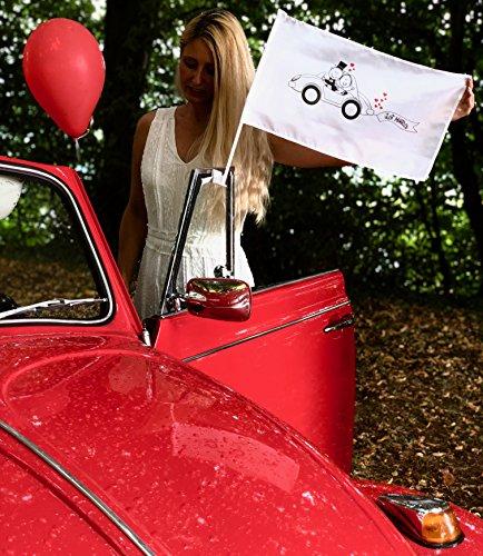 HECKBO 20x Autoflagge, Autofahne Hochzeit - Hochzeitsdeko - Hochzeitszubehör - Hochzeitsaccessoires - Auto Deko für Hochzeit - Autoschmuck Hochzeit - Hochzeitsgeschenk - Hochzeitsschmuck
