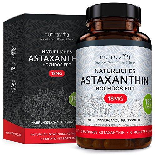 Astaxanthin 18 mg - Hochdosiert - 6-Monats-Versorgung - 180 Kapseln - Laborgeprüft - Premium Qualität - Hergestellt aus der Microalge Haematococcus Pluvialis aus Hawaii