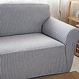 HYSENM 1/2/3/4 Sitzer Sofabezug Sesselbezug Bambus-Baumwolle unempfindlich rutschfest anti-Pilling , Grau+Weiß 3 Sitzer 190-230cm