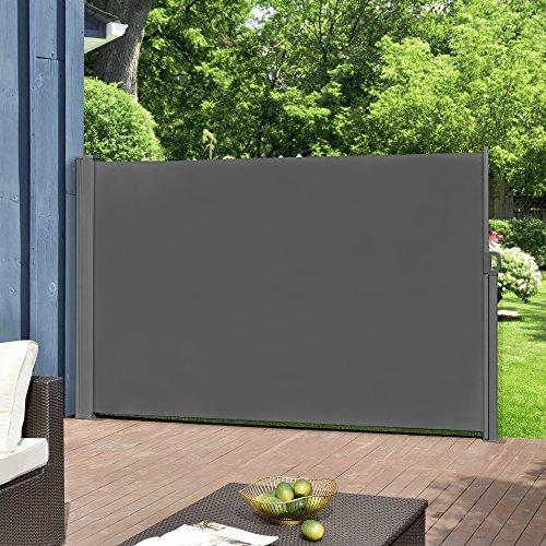 [Pro.Tec] Seitenmarkise - 160 x 300 cm Grau Sichtschutz Markise Sonnen- & Windschutz