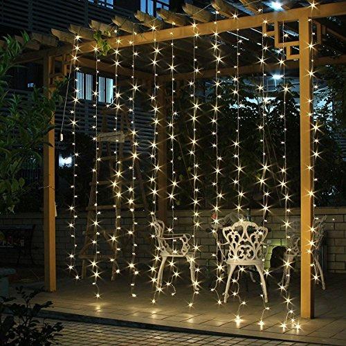 LED Lichterkettenvorhang 3m*3m IP44 wasserfest Sternen LED Lichterkette Lichtervorhang für Weihnachten Deko Party Festen, Innen, 8 Lichtwechselprogramme (Warmweiß)