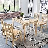 FineBuy Esszimmer-Set EMILIO 5 teilig Kiefer-Holz Landhaus-Stil 108 x 73 x 65 cm | Natur Essgruppe 1 Tisch 4 Stühle | Tischgruppe Esstischset 4 Personen | Esszimmergarnitur massiv