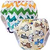 Teamoy 2-teilig Baby Schwimmhose, Bequem, waschbar und verstellbar, ideal für Schwimmen Lektionen oder Urlaub (Farbige Katze, Chevron
