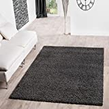 T&T Design Shaggy Teppich Hochflor Langflor Teppiche Wohnzimmer Preishammer Versch. Farben, Größe:140x200 cm, Farbe:anthrazit