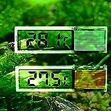 Gudelaa Aquarium 3D Digitales Elektronisches Thermometer Aquarium LED Extern Angebrachte Kristall Sensor Energiesparende Wasser Temperatur Meter Silber