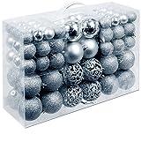 Christmas Gifts 100 x Weihnachtskugeln, Plastik, Silver, 12.1 x 35.7 x 23.4 cm