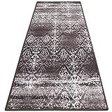Vintage Teppichläufer | im angesagten Shabby Chic Look | hochwertige Meterware, gekettelt | Kurzflor Teppich Läufer | Küchenläufer, Flurläufer (Braun,80x200 cm)