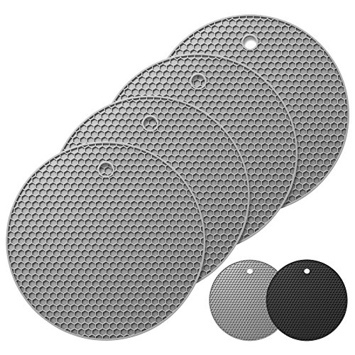 4er Set Oishii Topf Untersetzer aus Silikon - Runde Topflappen Hitzebeständig bis zu 230°C & Spülmaschinenfest (Grau)