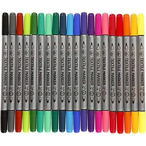 Creativ Textilmalstifte, Strichstärke: 2,3 und 3,6 mm, Sortierte Farben, 20 Stück