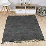 Taracarpet Flachweb-Baumwollteppich handgewebter handweb-Teppich Fleckerl Amrum aus 100% Baumwolle -auch bekannt als Dhurry oder Flickenteppich Uni anthrazit 070x140 cm