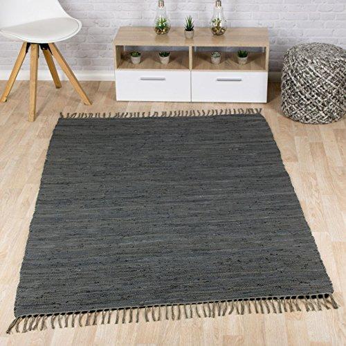 Taracarpet Flachweb-Baumwollteppich handgewebter handweb-Teppich Fleckerl Amrum aus 100% Baumwolle -auch bekannt als Dhurry oder Flickenteppich Uni anthrazit 090x160 cm