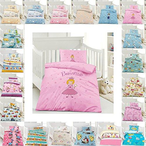 Kinder Bettwäsche 100 x 135 cm + Kissen 40 x 60 cm 100% Baumwolle mit Reißverschluss, Erhältlich mit verschiedenen Motiven - Kinderbettwäsche-Set, Babybettwäsche, bedruckter Bettbezug für Jungen & Mädchen - Prinzessin