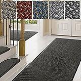Teppich / Läufer in zahlreichen Größen | anthrazit, gepunktet | Qualitätsprodukt aus Deutschland | Teppichläufer mit GUT Siegel | Küchenläufer, Flurläufer (66x200 cm)