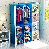 Koossy Erweiterbares Kinderregal Kinder Kleiderschrank Bücherregal 12 Fächer Spielzeugschrank für Arbeitszimmer und Kinderzimmer, 106 x 35 x 147 cm Blau