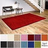 Shaggy-Teppich | Flauschige Hochflor Teppiche für Wohnzimmer Küche Flur Schlafzimmer oder Kinderzimmer | Einfarbig, schadstoffgeprüft, allergikergeeignet (Rot, 150 x 150 cm quadratisch)