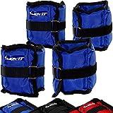 MOVIT 4er Set Gewichtsmanschetten, 2x 500g und 2x 1000g Laufgewichte für Fuß- und Handgelenke in 3 Farbvarianten blau