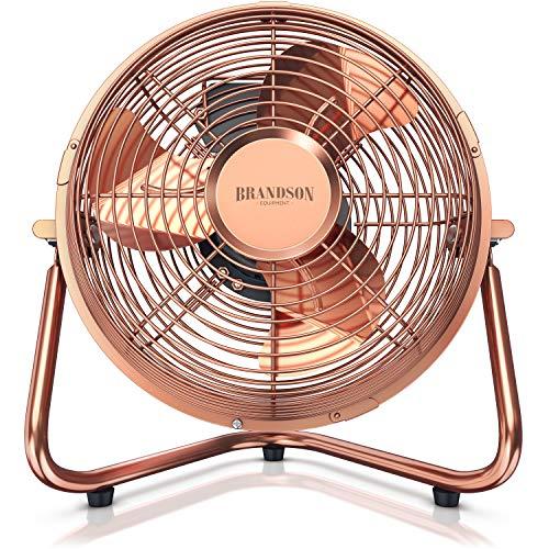 Brandson - Windmaschine Retro Stil | Ventilator im Kupfer Design | Standventilator 32 Watt | Tischventilator/Standventilator | hoher Luftdurchsatz | stufenlos neigbarer Ventilatorkopf