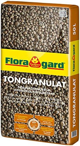 Floragard Blähton Tongranulat zur Drainage - Hydrokultursubstrat - für Pflanzkästen, Kübel oder Töpfe - 50 L