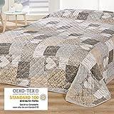 Delindo Lifestyle Tagesdecke Bettüberwurf HERZEN / für Doppelbett / patchwork braun / 220x240 cm