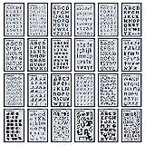 24Stück Buchstabe Nr. Schablonen Alphabet Schablone für Bullet Tagebuch Supplies DIY Scrapbooking Malen Zeichnen Craft Zubehör 4× 17,8cm