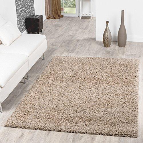 Shaggy Teppich Hochflor Langflor Teppiche Wohnzimmer Preishammer versch. Farben, Größe:120x170 cm, Farbe:beige