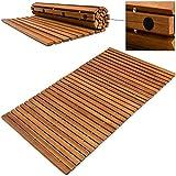 Badematte Badmatte Badvorleger Holzmatte  FSC-zertifiziertes Akazienholz  rutschhemmende Gummistopper  80 cm x 50 cm
