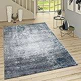 Paco Home Kurzflor Teppich Modern Orientalisches Muster Vintage Style Ombre Look Grau Blau, Grösse:155x230 cm