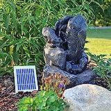 CLGarden Solar Springbrunnen NSP14 mit Akku LED Beleuchtung Gartenbrunnen Kaskadenbrunnen Wasserspiel Solarbrunnen für Garten Balkon Terrasse